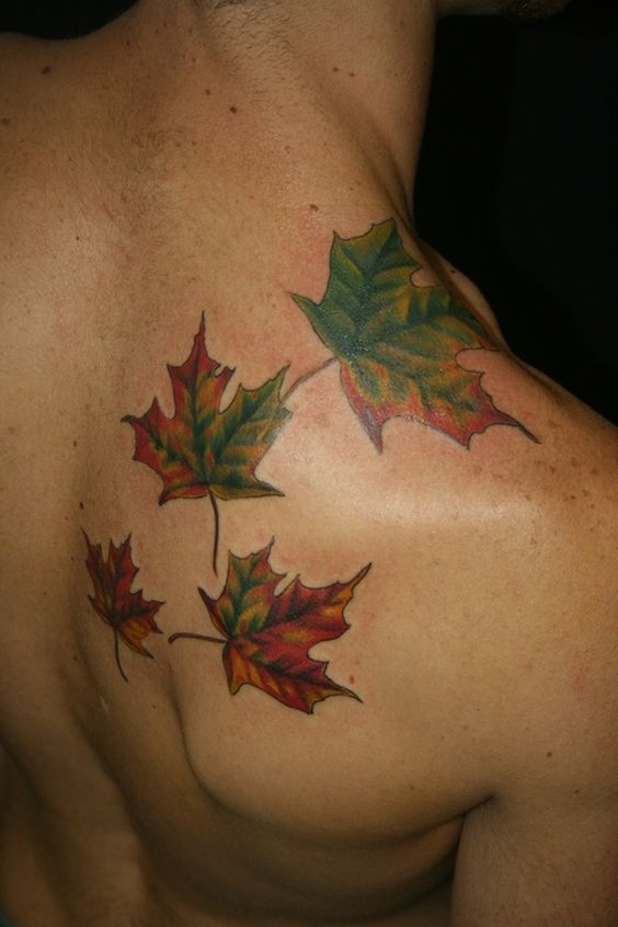 back leaf design tattoo
