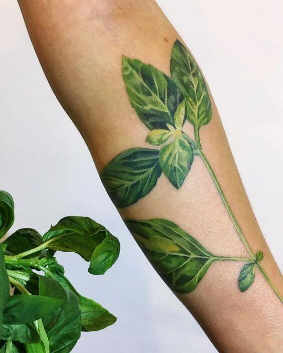 color green leaf design for tattoo