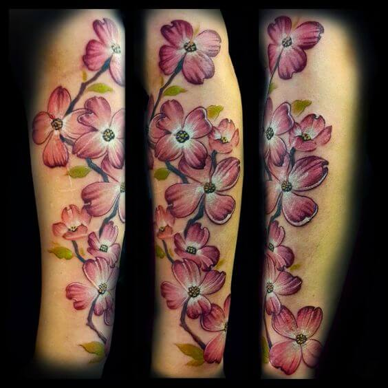 dogwood leaves sleeve tattoo