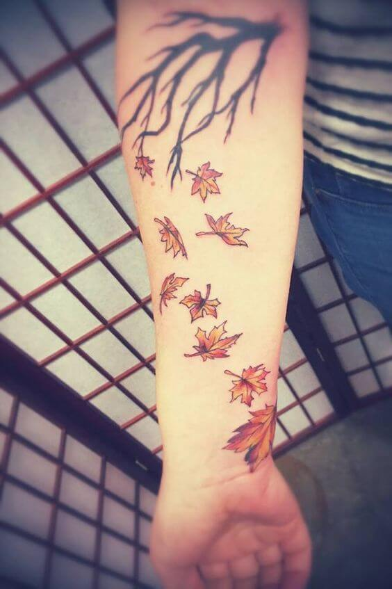 leaf falling tattoo