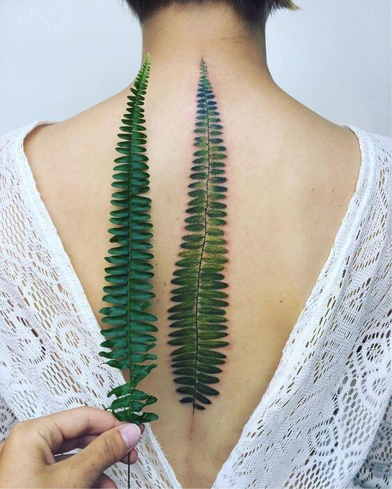 realistic leaf spine tattoo
