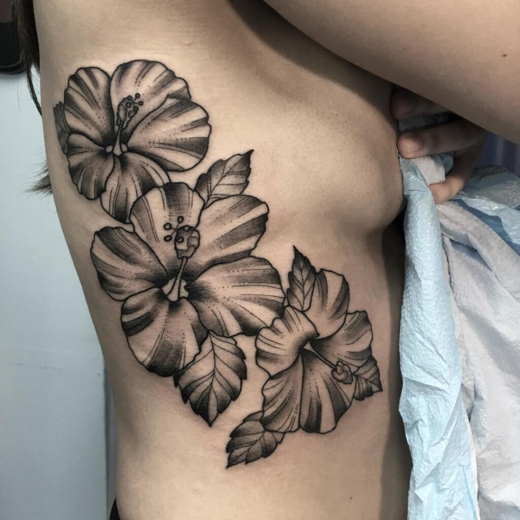 Black and White Hibiscus Tattoo