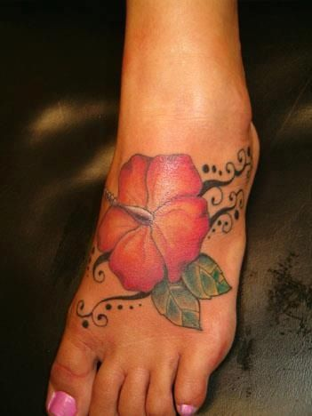 Hibiscus Tattoo on Foot