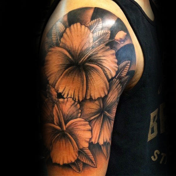 Yellow flowers sleeve tattoos