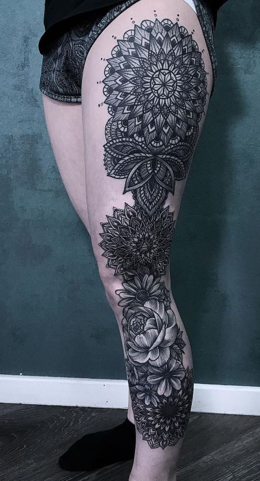 Mandala full leg tattoo