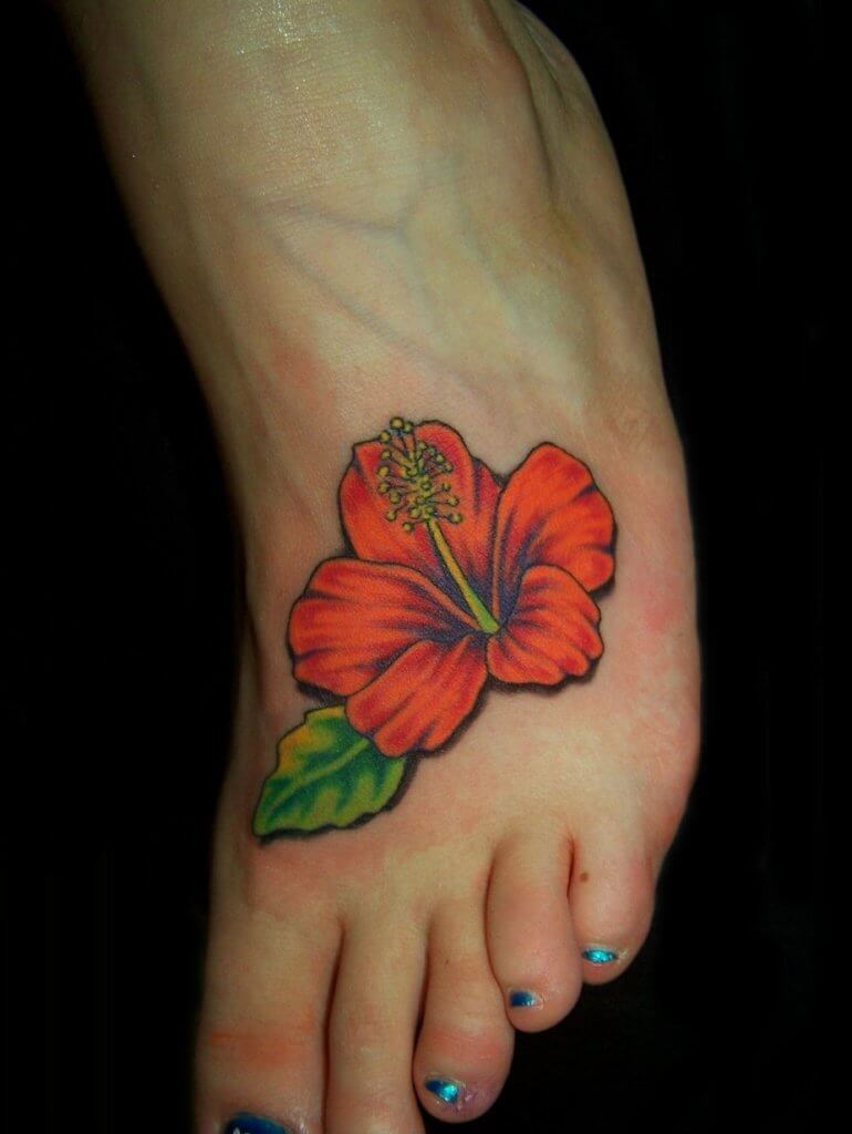 Red Hibiscus Flowers tattoo