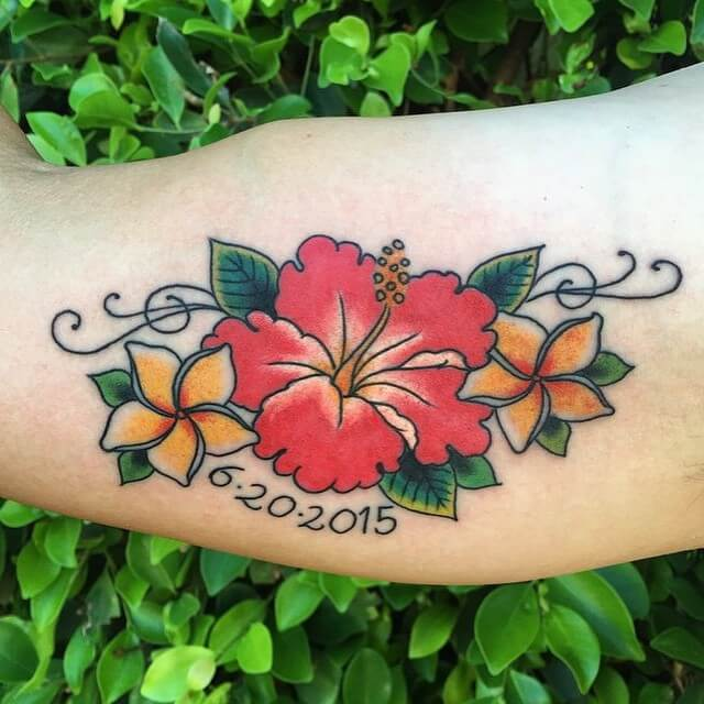 Traditional Hibiscus Tattoo