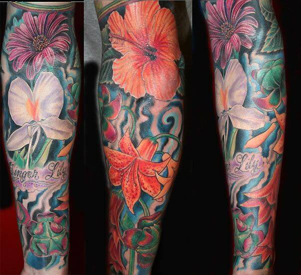 red flower hibiscus sleeve tattoo