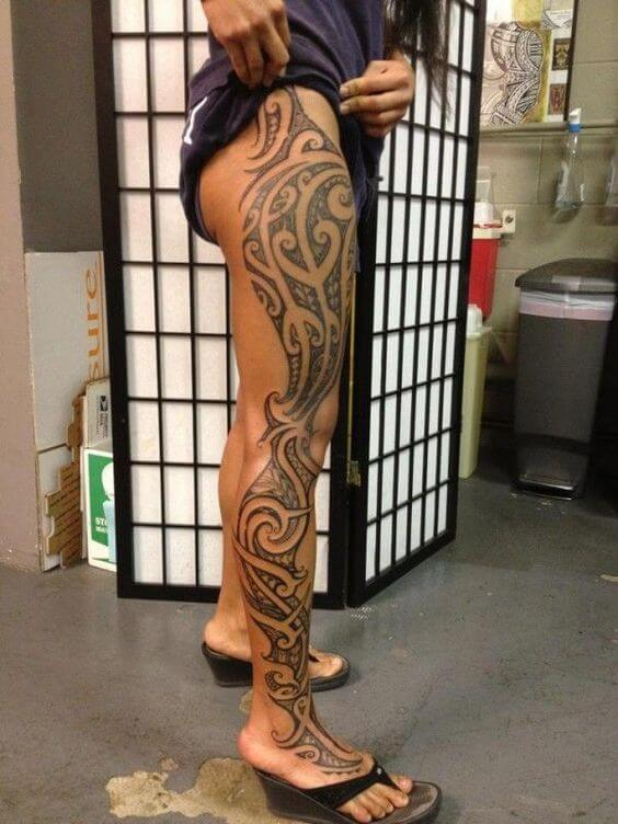 tribal full leg tattoo for women