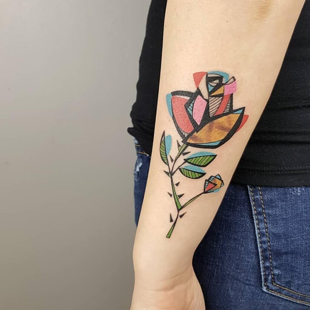 Top 20 Lovely and Modern Cubism Tattoos 15