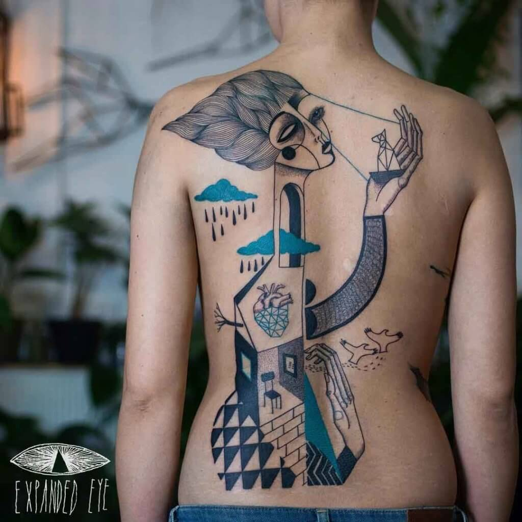 Top 20 Lovely and Modern Cubism Tattoos 23