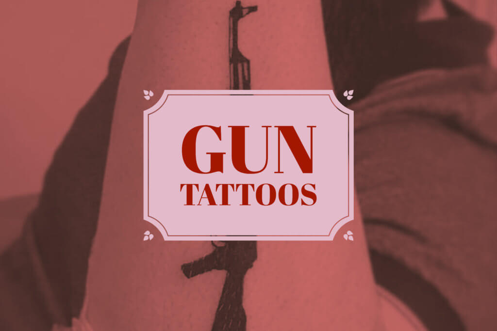 colorful gun tattoo