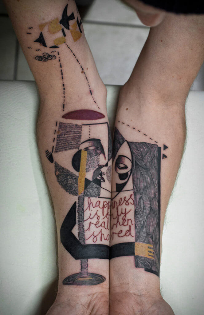love cubism tattoo on hands