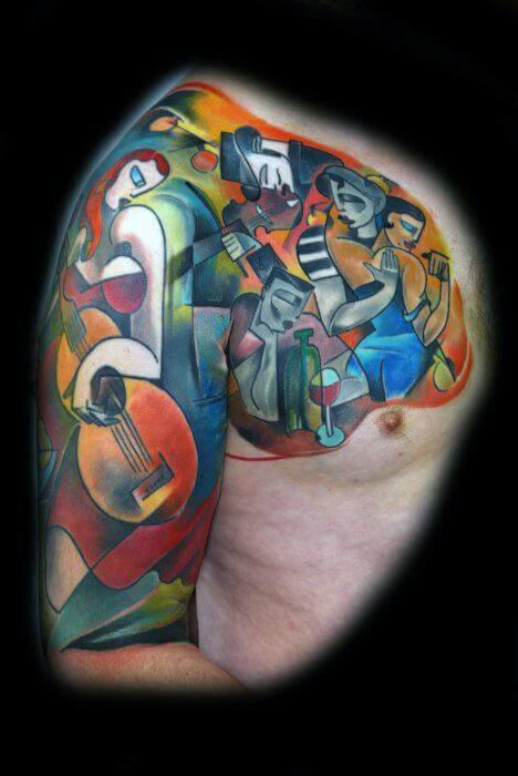 sleeve cubism tattoo