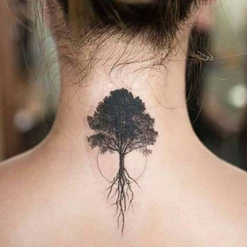 oak tree back of the neck tattoo
