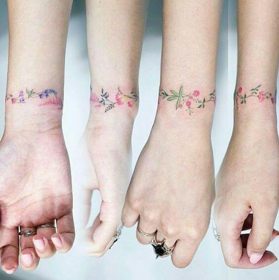 Colorful Wrist Tattoos For Girls