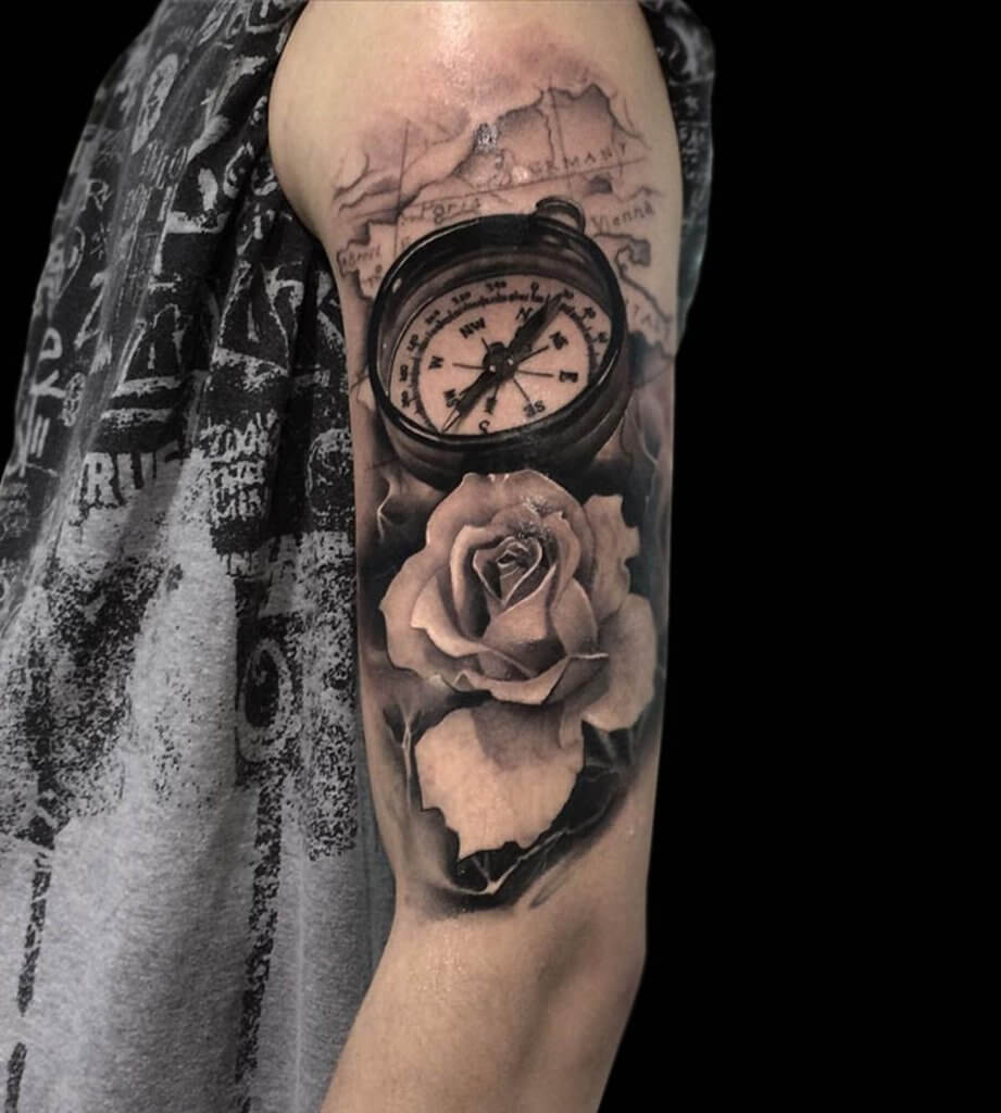 Surreal Compass Flowers Tattoo 3d