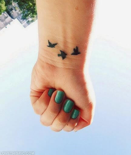 Birds Wrist Tattoos For Girls