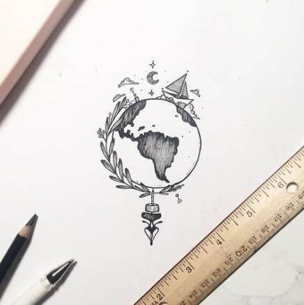Earth Tattoo Drawing