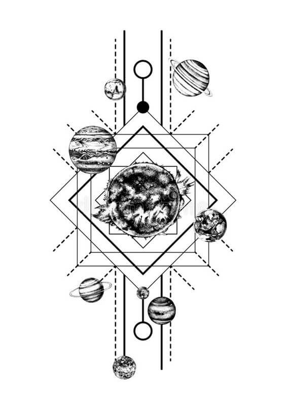 Geometric Solar System Tattoo