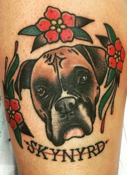 Boxer Dog Tattoo Traditional