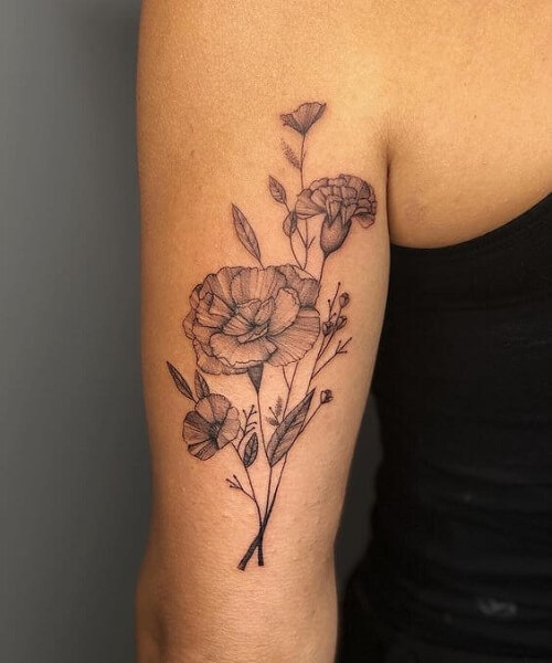 Back of Arm Bouquet of Flowers Tattoo