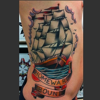 Traditional ship with banner tattoo